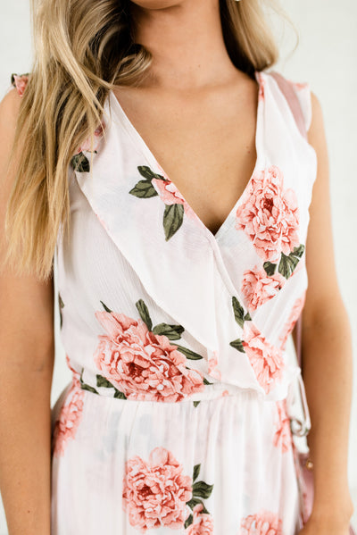 White Floral Affordable Online Boutique Clothing for Women