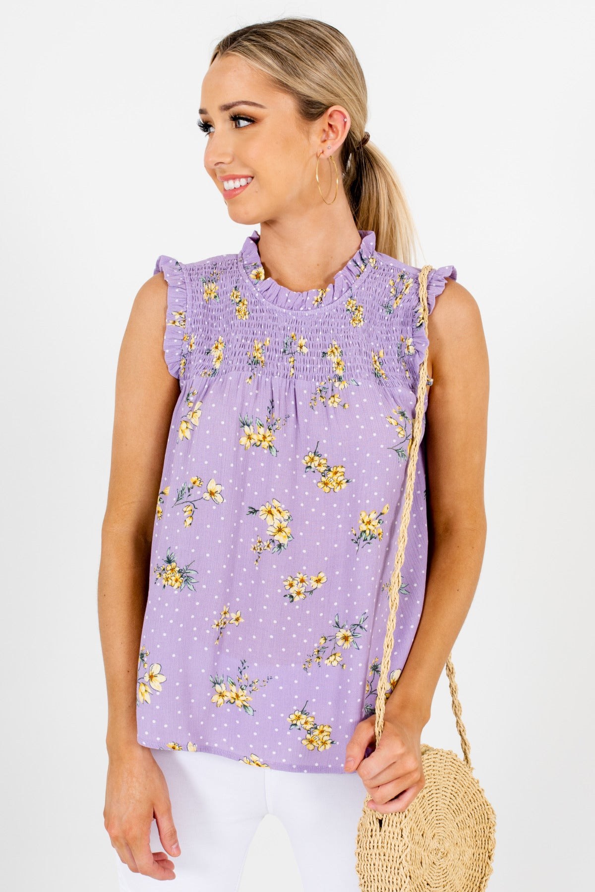 Lilac Purple Polka Dot Yellow Floral Ruffle Smocked Tops Boutique