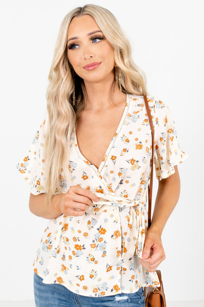 Cream Floral Patterned Boutique Blouses for Women
