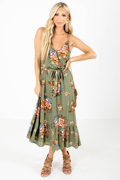 Green Floral Patterned Boutique Midi Dresses for Women