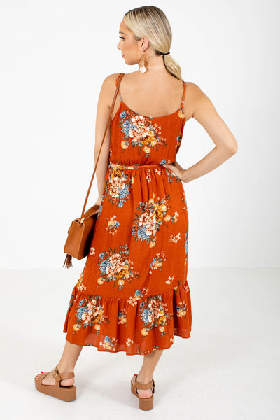 Women's Orange Ruffled Hem Boutique Midi Dress