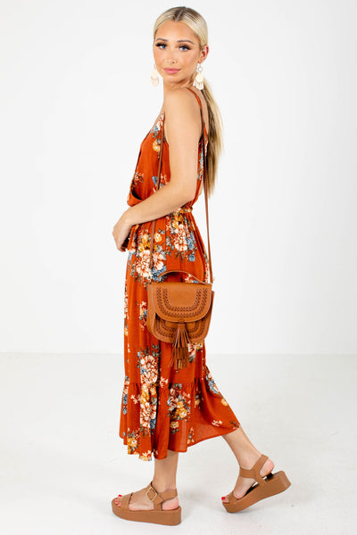 Women's Orange Elastic Waistband Boutique Midi Dress