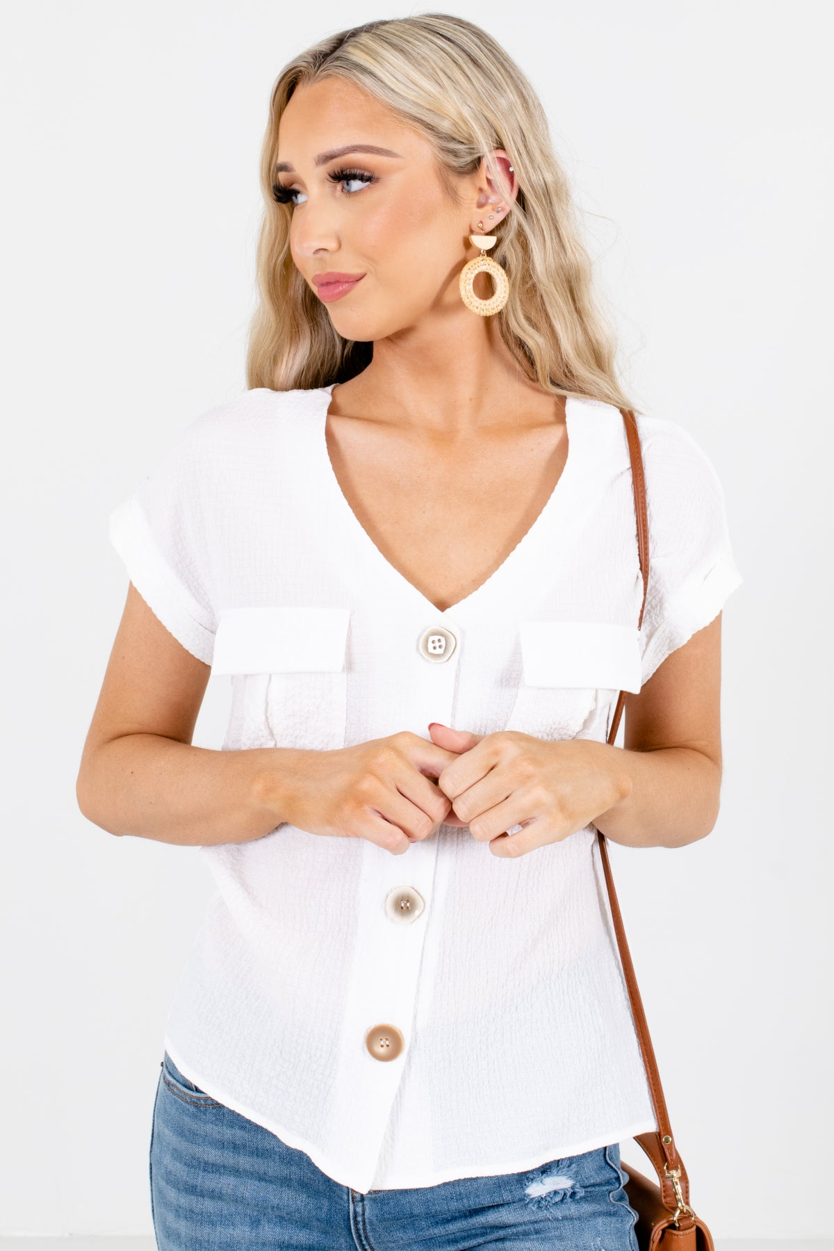 White Button-Up Front Boutique Blouses for Women