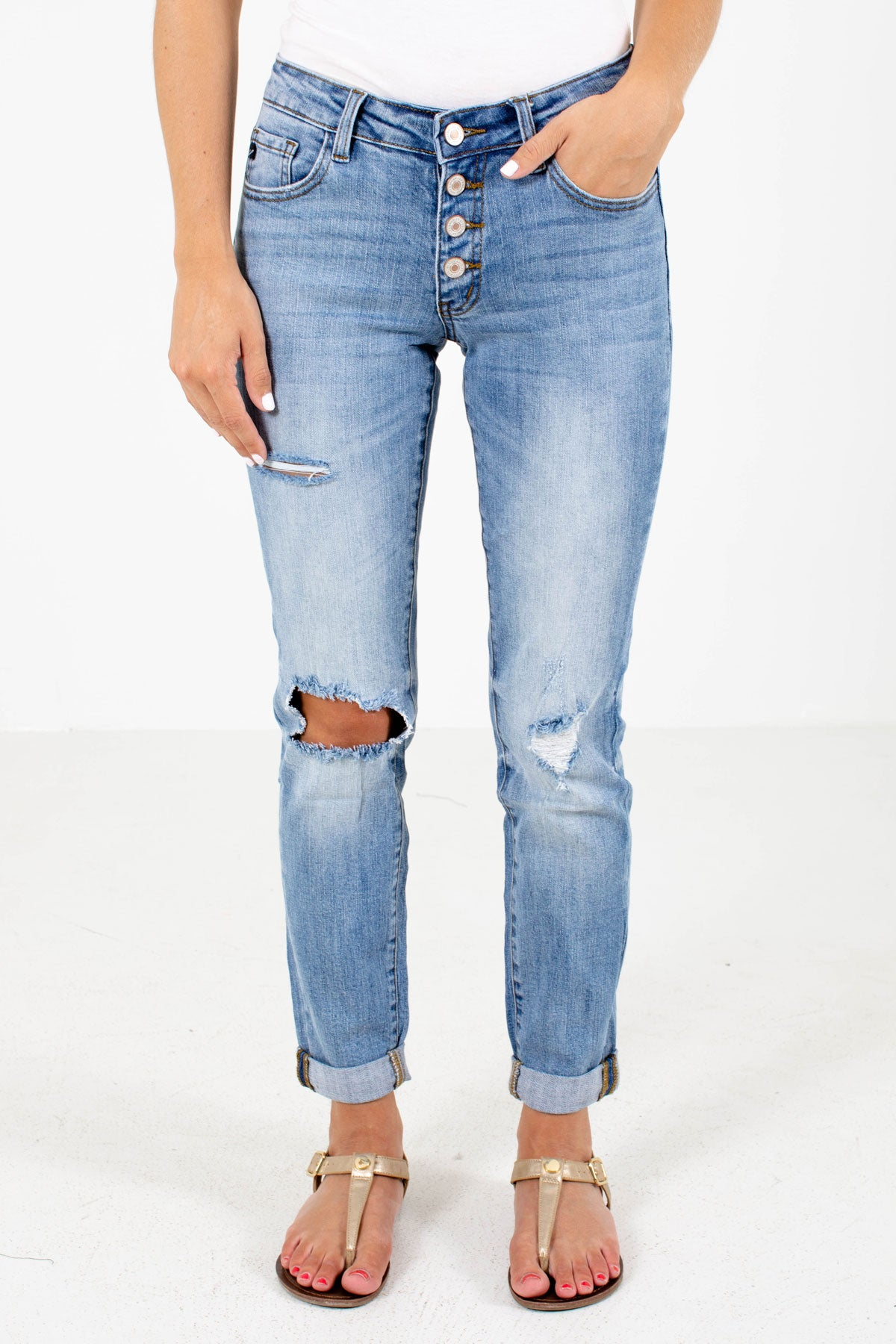 Blue Button-Up Front Boutique KanCan Jeans for Women