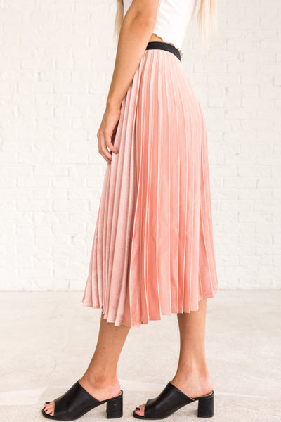 Shimmering Blush Pink Pleated Midi Skirts Party Outfit for Women