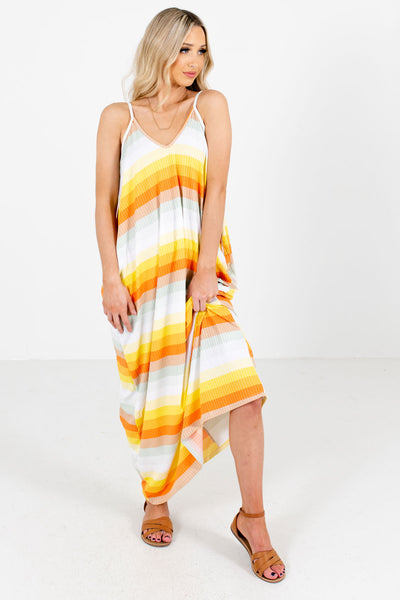 Boardwalk Babe Orange Multi Striped Maxi Dress