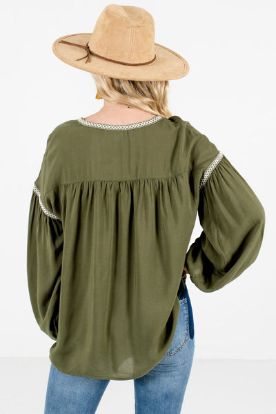 Women's Olive Green Crochet Accented Boutique Blouse