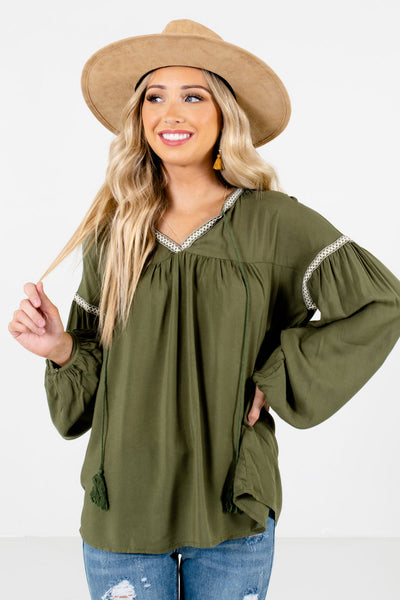 Women's Olive Green Tassel Tie Accented Boutique Blouse