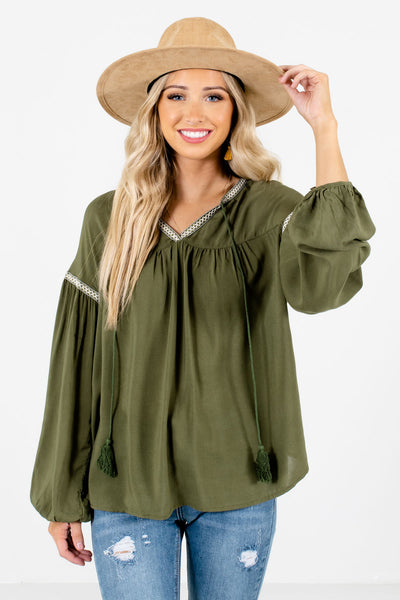 Olive Green Bohemian Peasant Style Boutique Blouses for Women