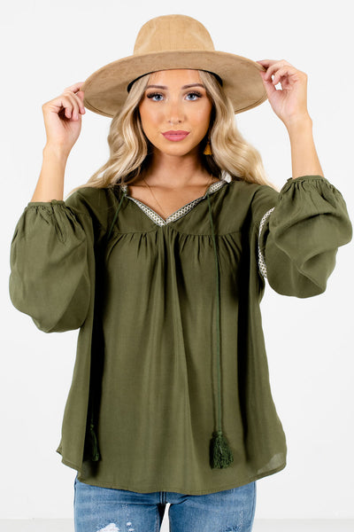 Women's Olive Green Flowy Silhouette Boutique Blouse