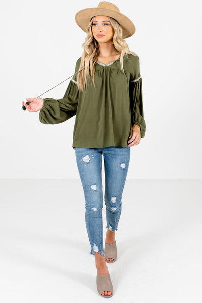 Olive Green Cute and Comfortable Boutique Blouses for Women