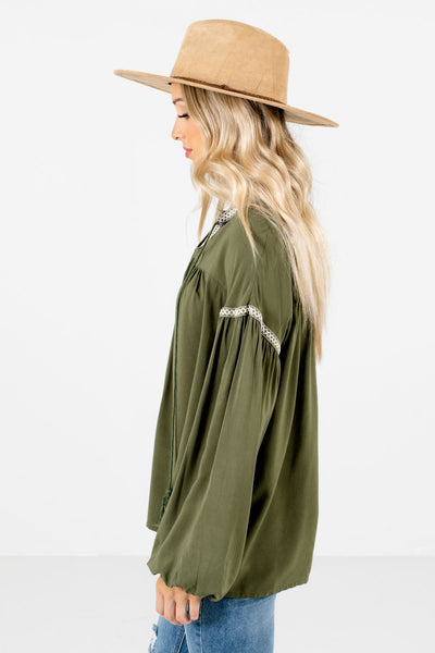 Olive Green Split V-Neckline Boutique Blouses for Women