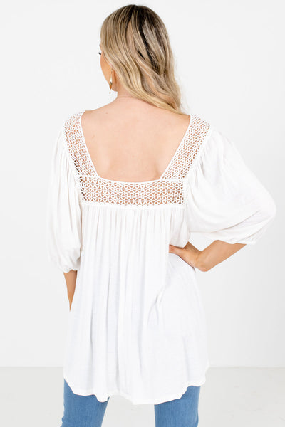 Women's White Crochet Detailed Boutique Blouse