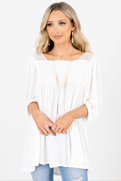 Women's White Pleated Accented Boutique Blouse