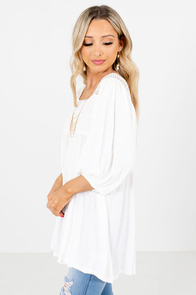 White 3/4 Length Sleeve Boutique Blouses for Women