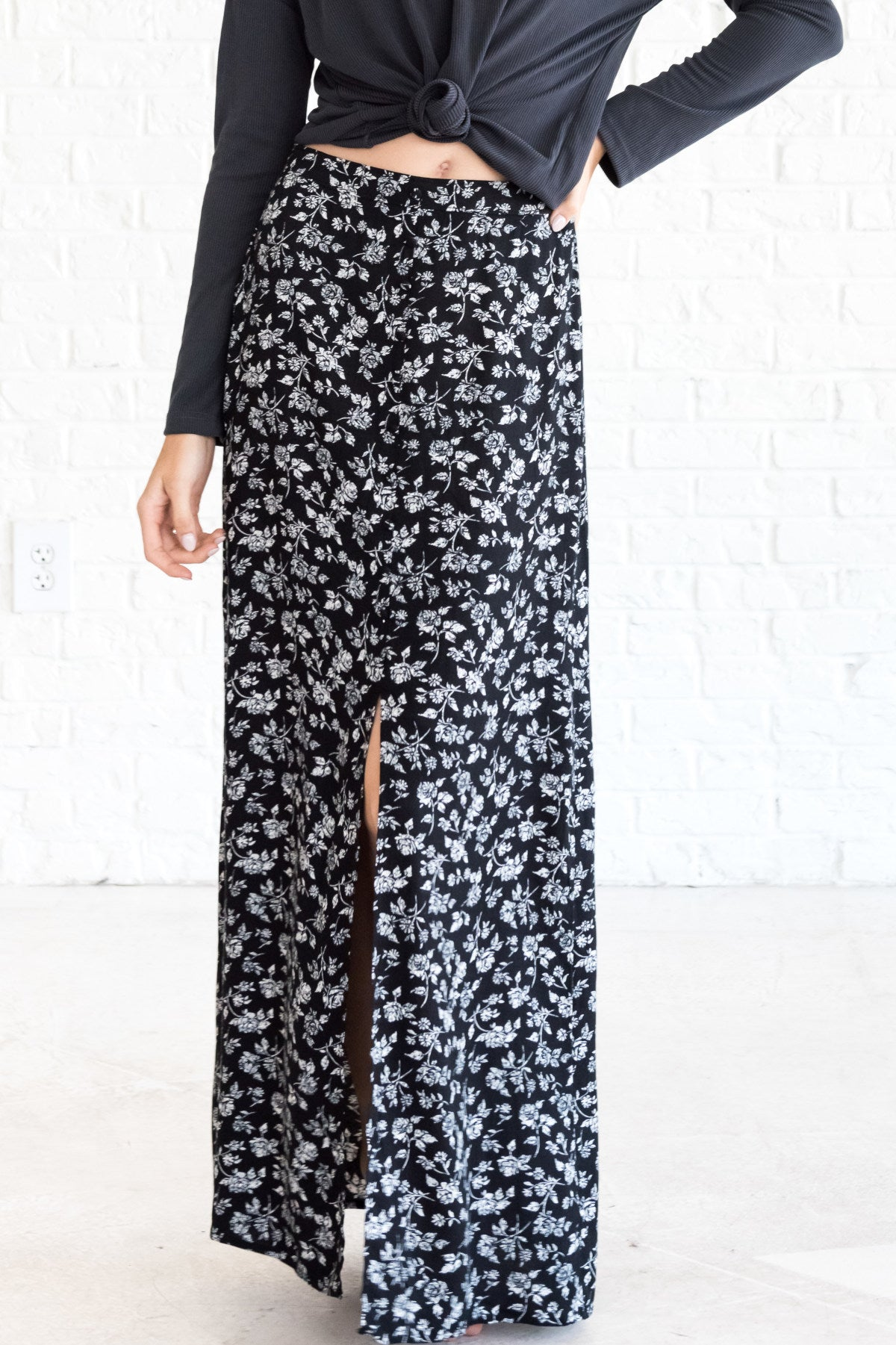 Black Floral Women's Boho Maxi Skirt