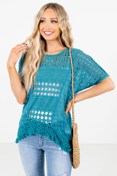 Blue High-Quality Crochet Material Boutique Tops for Women