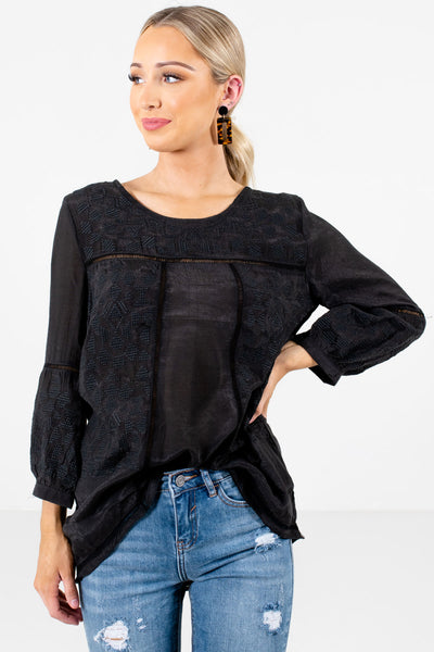 Black Embroidered Ladder Lace Boutique Tops for Women