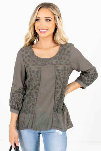 Olive Green Embroidered Ladder Lace Boutique Tops for Women
