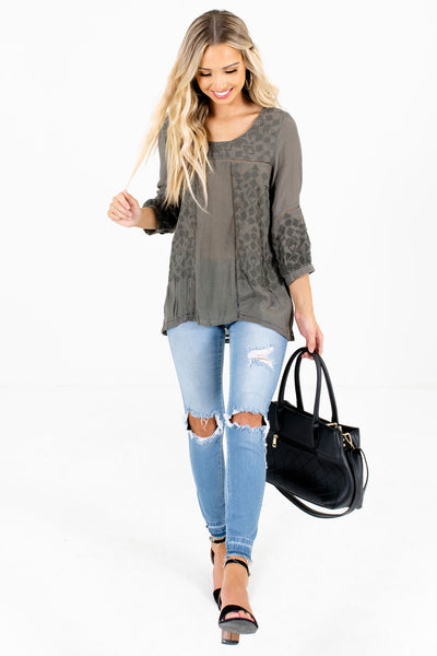 Olive Green Cute and Comfortable Boutique Tops for Women
