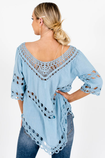 Women's Blue Crochet Detailed Boutique Tops