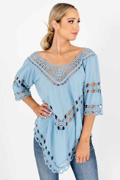 Blue Semi-Sheer Material Boutique Tops for Women