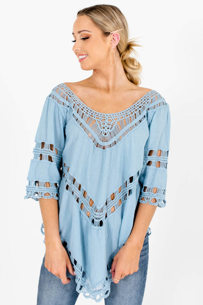 Blue Asymmetrical Hem Boutique Tops for Women