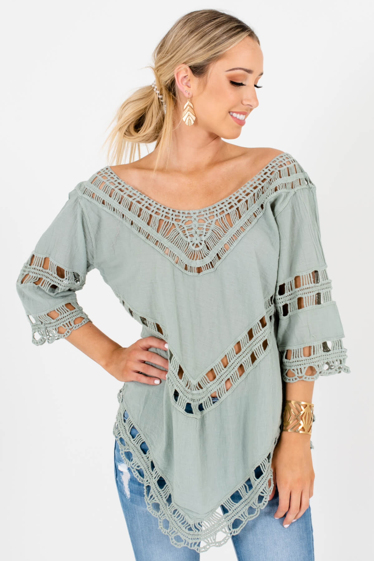 Green Semi-Sheer Material Boutique Tops for Women
