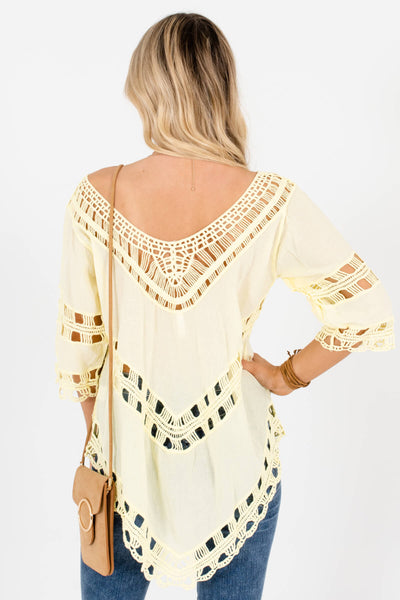 Women's Yellow Crochet Detailed Boutique Tops