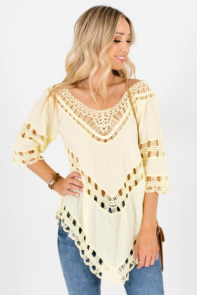 Yellow Semi-Sheer Material Boutique Tops for Women