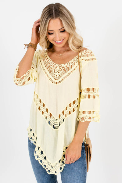 Yellow Asymmetrical Hem Boutique Tops for Women