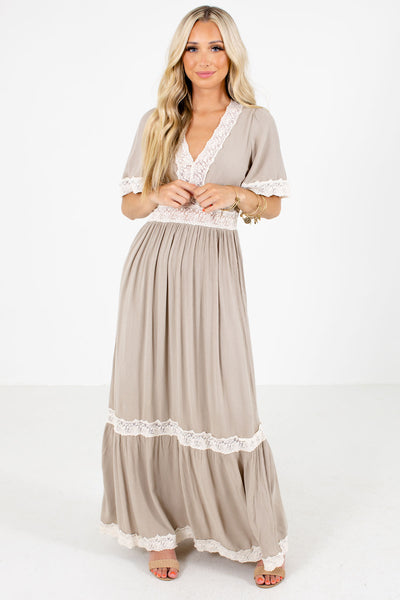 Taupe Partially Lined Boutique Maxi Dresses for Women