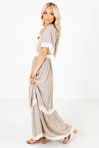 Women's Taupe Brown Date Night Boutique Maxi Dress