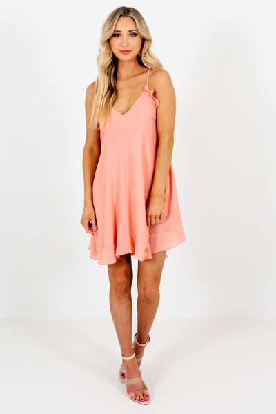 Women's Peach Pink Cute and Comfortable Boutique Mini Dresses for Women