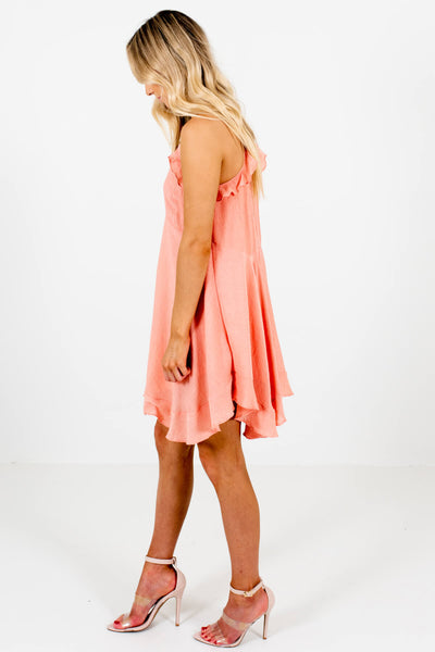 Peach Pink Fully Lined Boutique Mini Dresses for Women