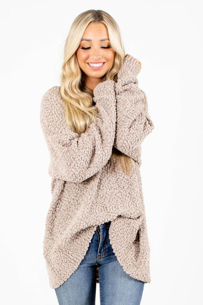 Women's Tan Fall and Winter Boutique Sweater