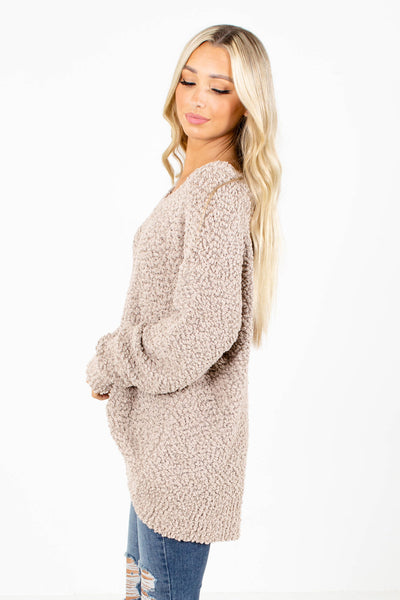 Women's Tan V-Neckline Boutique Sweater