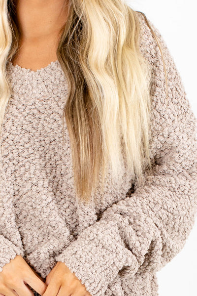 Tan Popcorn Knit Material Boutique Sweater for Women