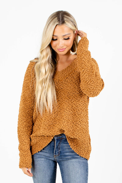Woman's Brown Knit Sweater Material Boutique for Women