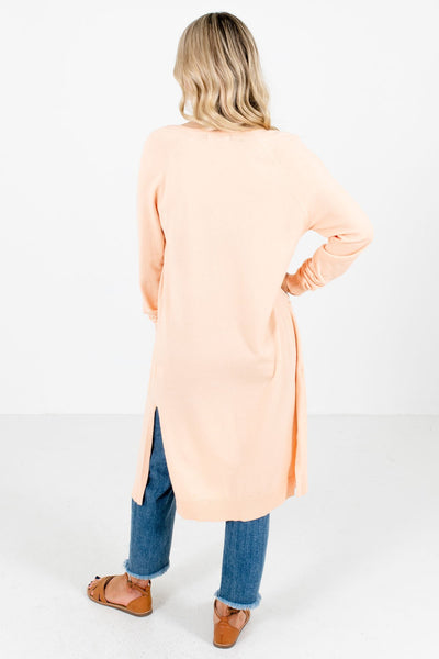 Women's Peach Pink Side Hem Slit Boutique Cardigan