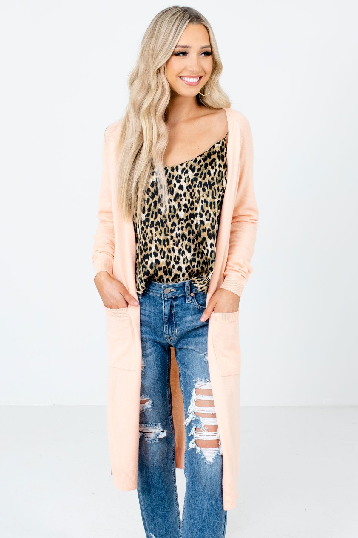 Peach Pink Long Length Boutique Cardigans for Women