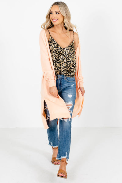 Women's Peach Pink Layering Boutique Cardigans