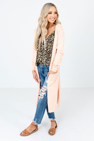 Peach Pink Cute and Comfortable Boutique Cardigans for Women