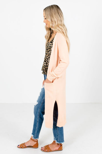 Peach Pink Boutique Cardigans with Pockets for Women
