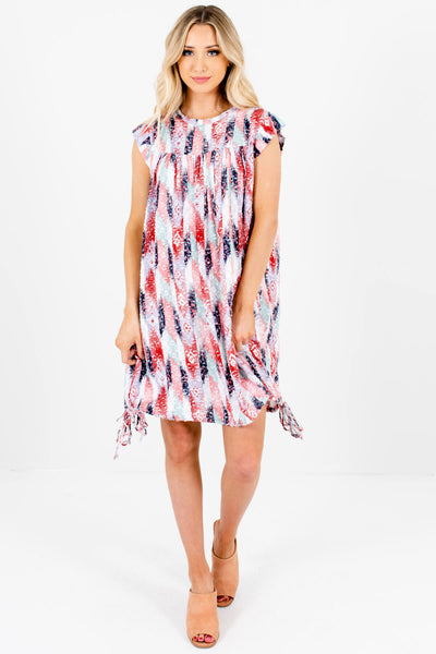 White Red Blue Abstract Print Drawstring Hem Boutique Mini Dresses