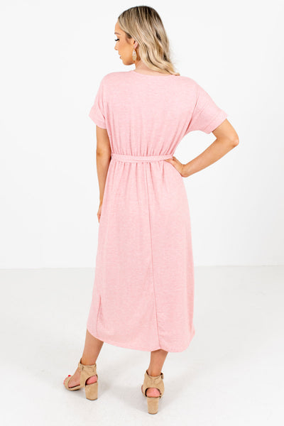 Women's Pink Elastic Waistband Boutique Knee-Length Dress