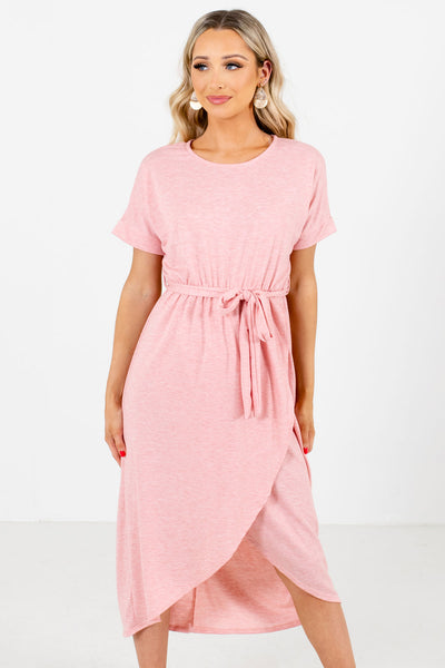 Pink Faux Wrap Style Boutique Knee-Length Dresses for Women