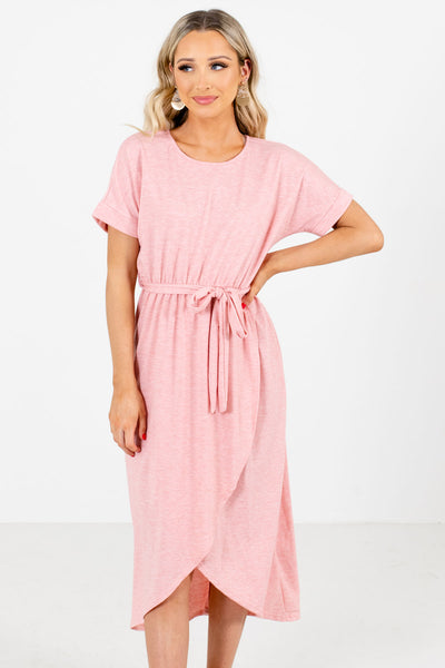 Women's Pink Cuffed Sleeved Boutique Knee-Length Dresses