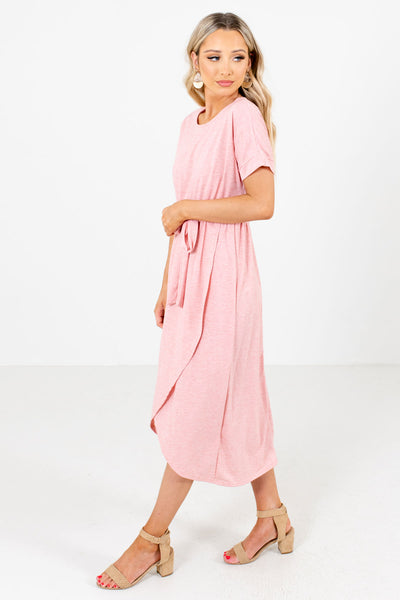 Pink Waist Tie Detail Boutique Knee-Length Dresses for Women