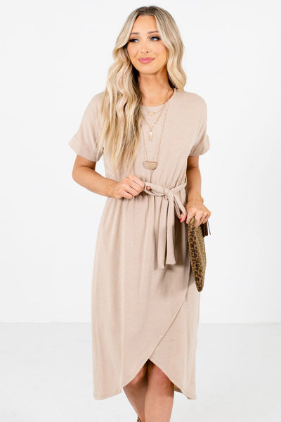 Brown Faux Wrap Style Boutique Knee-Length Dresses for Women